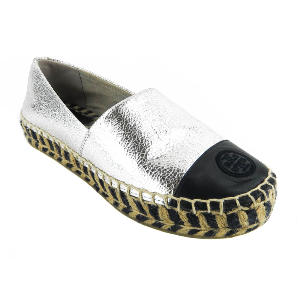 Tory Burch Navy and Silver Metallic Leather Colorblock Espadrille Flats - Flats