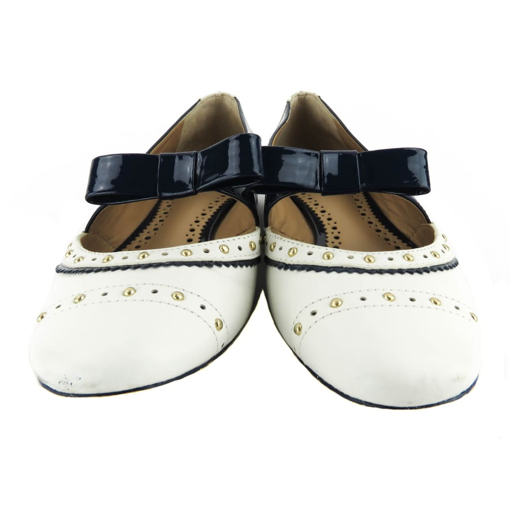 Tory Burch Navy Blue and White Leather Studded Patent Bow Flats - Flats