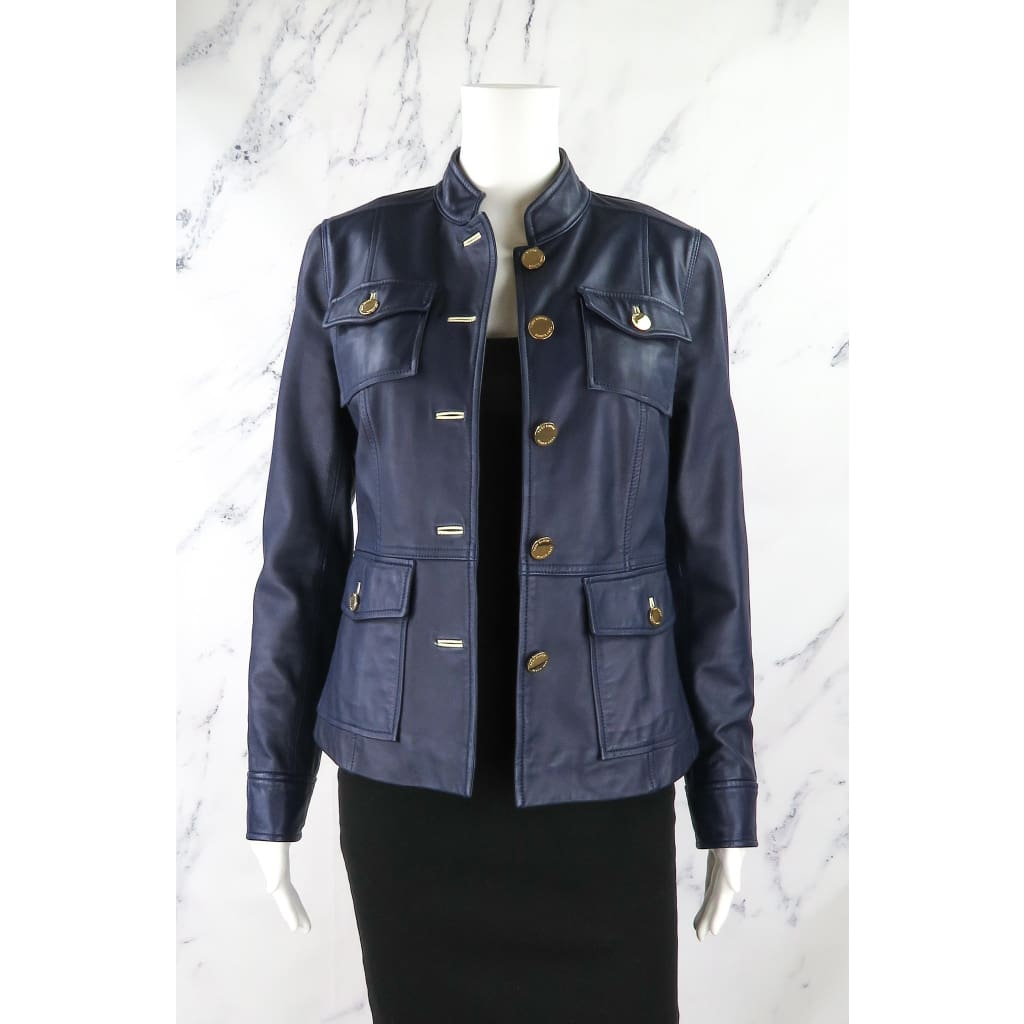 Tory Burch Navy Blue Lamb Leather Size 4 Jacket - Jacket