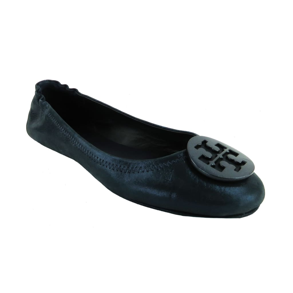 Tory Burch Navy Blue Leather Shimmer Minnie Travel Ballet Flats - Flats