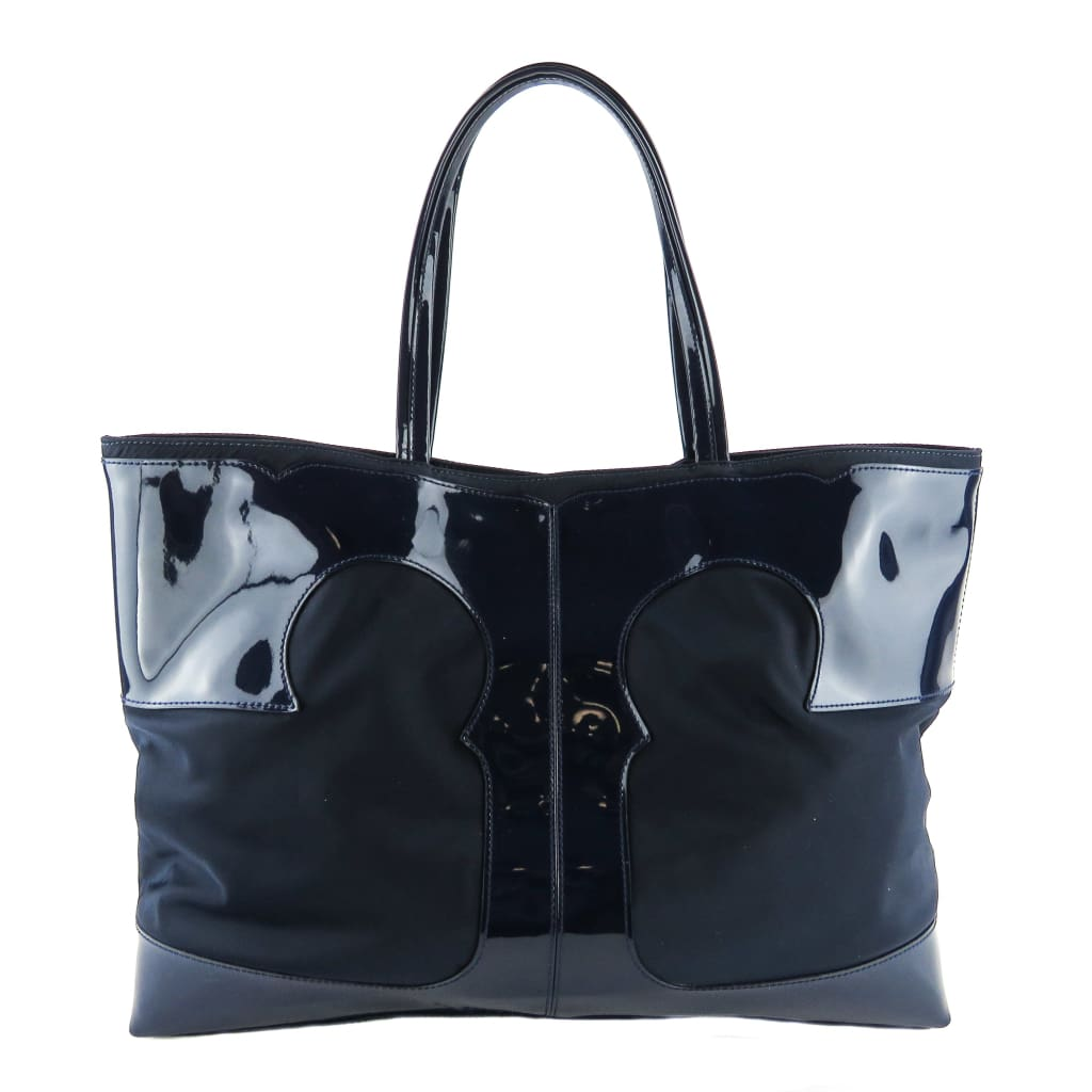 Tory Burch Navy Blue Nylon Patent T Tote Bag - Totes