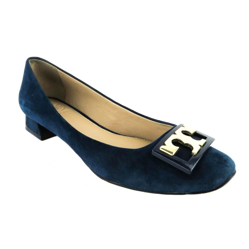 Tory Burch Navy Blue Suede Gigi Rounded Toe Flats - Flats