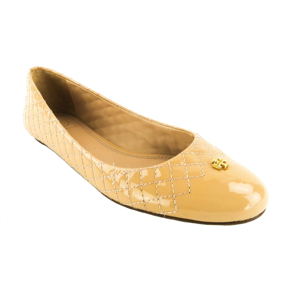 Tory Burch Nude Patent Leather Quilted Kent Flats - Flats