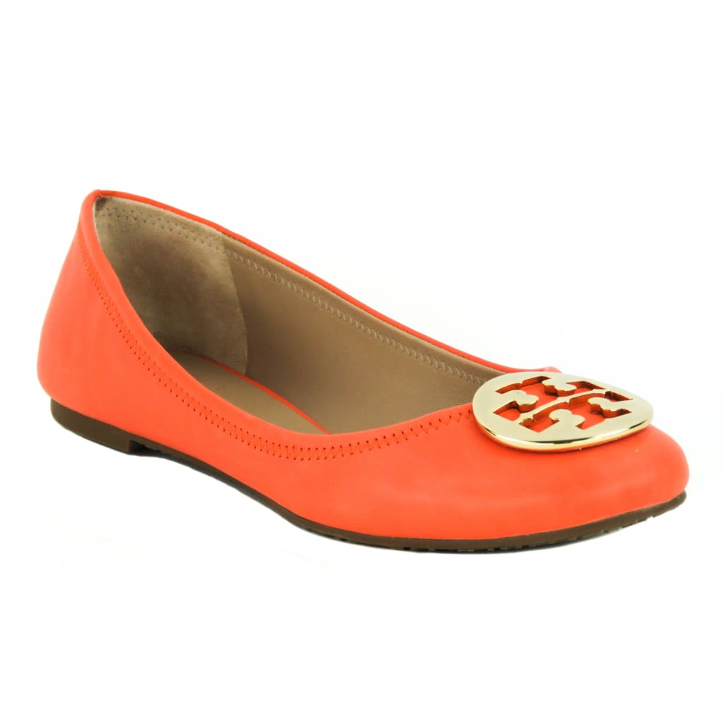 Tory Burch Orange Leather Nellie Logo Reva Ballet Flats - Flats