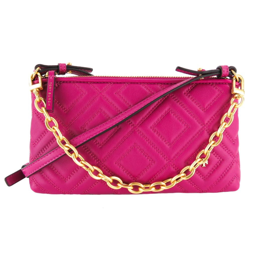Tory Burch Pink Quilted Leather Party Fuchsia Fleming Crossbody Bag - Crossbodies