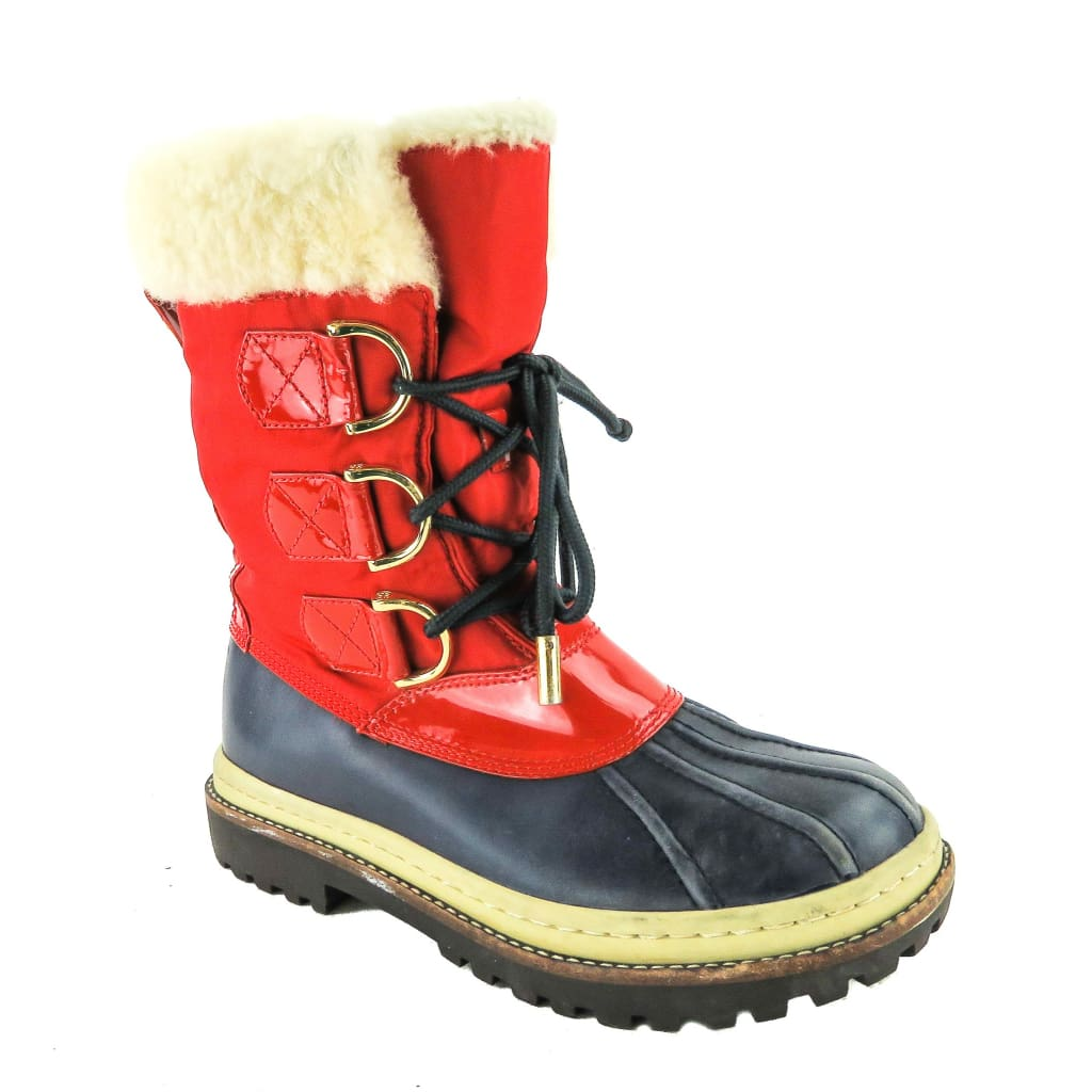 Tory Burch Red and Navy Blue Nylon Shearling Duck Boots - Boots/Rain Boots