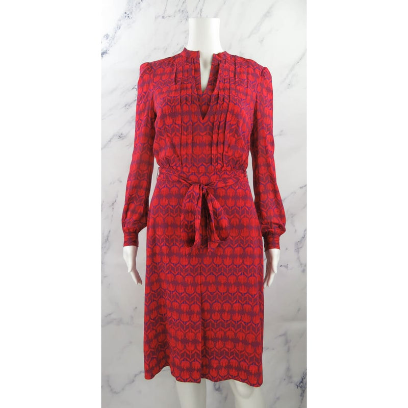 Tory Burch Red and Purple Silk Size 2 Hamana Judi Floral Longsleeve Dress - Dresses