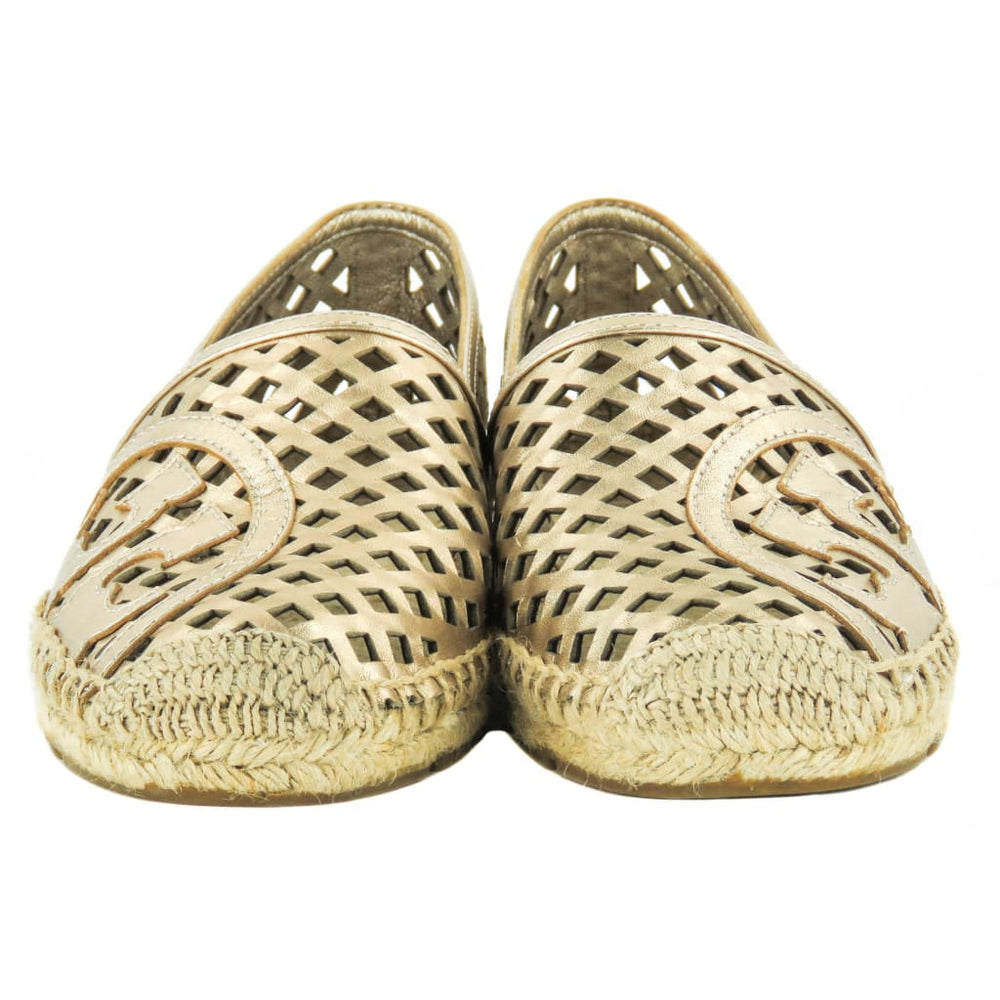 d806721ca38 Tory Burch Rose Gold Metallic Leather Thatched Perforated Espadrille Flats