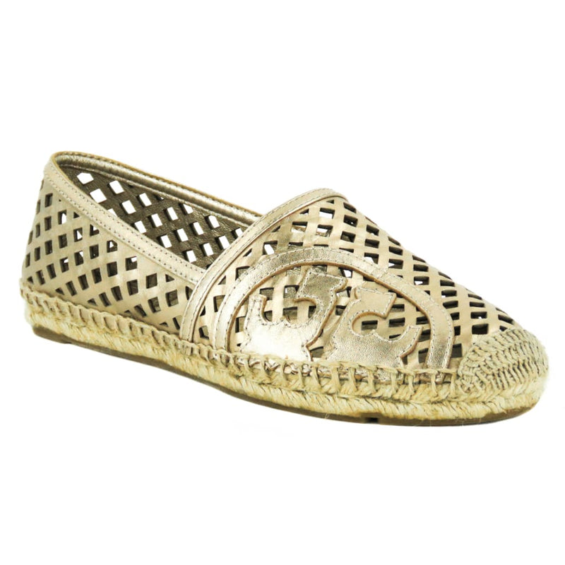 Tory Burch Rose Gold Metallic Leather Thatched Perforated Espadrille Flats - Espadrilles