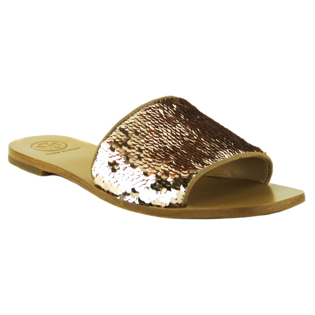 Tory Burch Rose Gold Sequined Carter Slides Sandals - Sandals