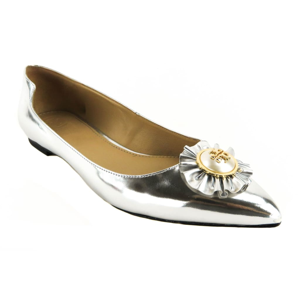 Tory Burch Silver Metallic Leather Mirror Melody Flats - Flats