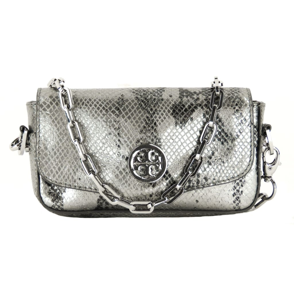Tory Burch Silver Metallic Snake Embossed Leather Robinson Mini Crossbody Bag - Crossbodies