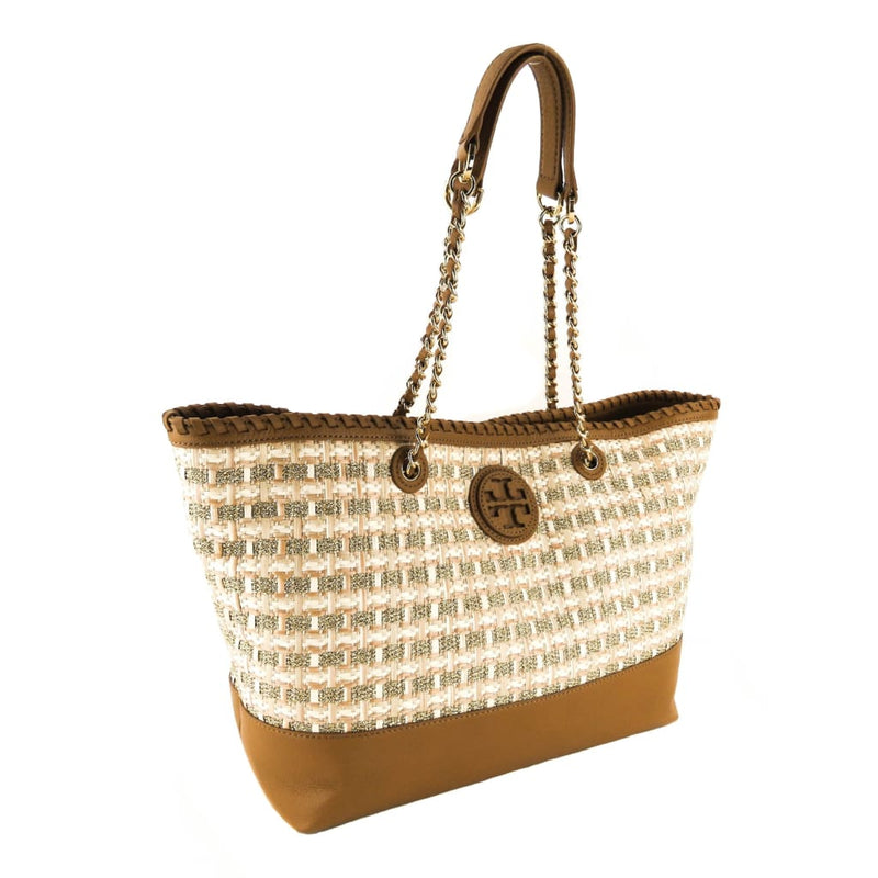 Tory Burch Tan and Gold Leather Marion Woven Straw East-West Tote Bag - Totes