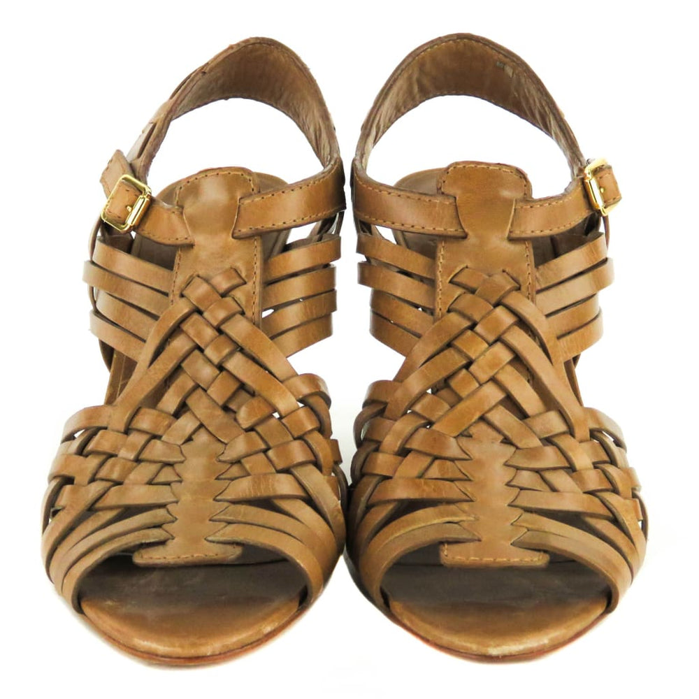 6a56454ae3f7a Tory Burch Tan Leather Nadia Huarache Sandal Heels – Mosh Posh ...