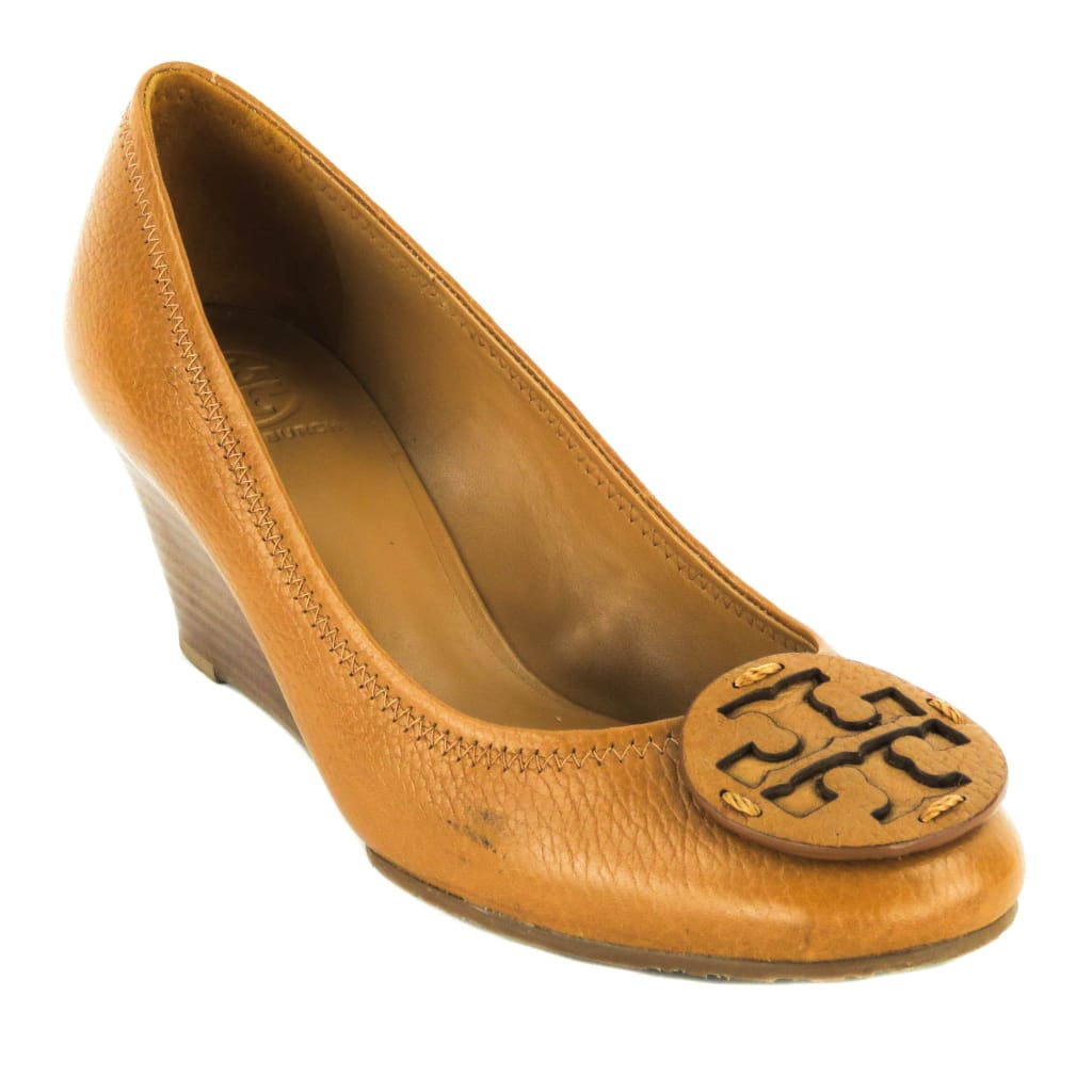 Tory Burch Tan Leather Sally Logo Wedges - Wedges