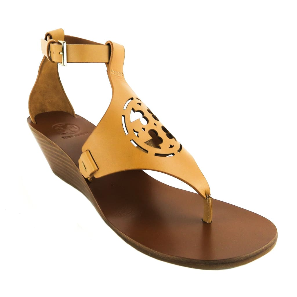 Tory Burch Tan Leather Zoey 50mm Sandal Wedges - Sandals