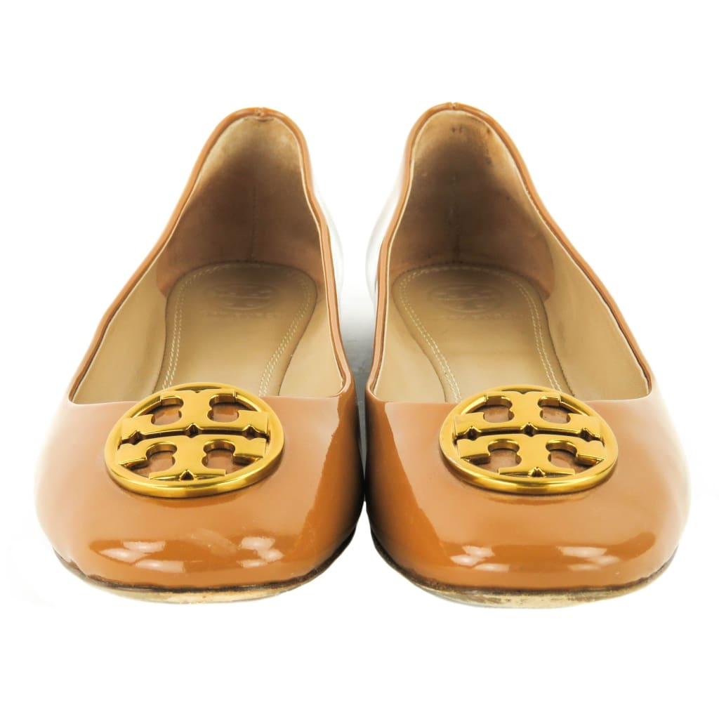 Tory Burch Tan Patent Leather Chelsea Caramel Ballet Flats - Flats