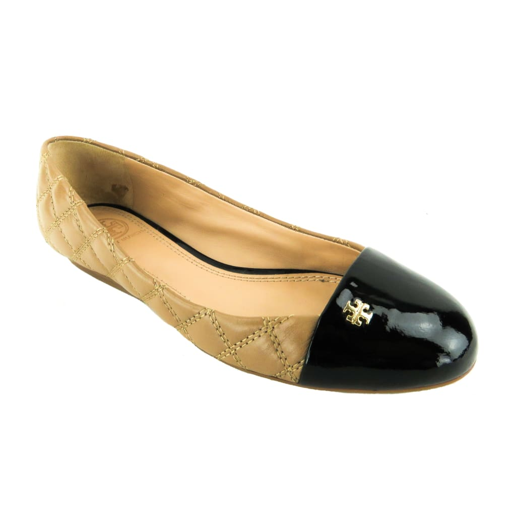 Tory Burch Tan Quilted Leather Black Patent Cap Toe Claremont Flats - Flats