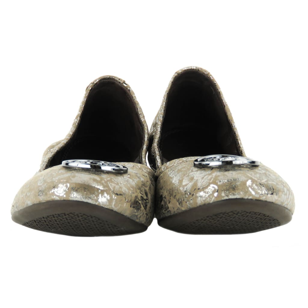 Tory Burch Taupe Cobra Embossed Metallic Leather Reva Ballet Flats - Flats