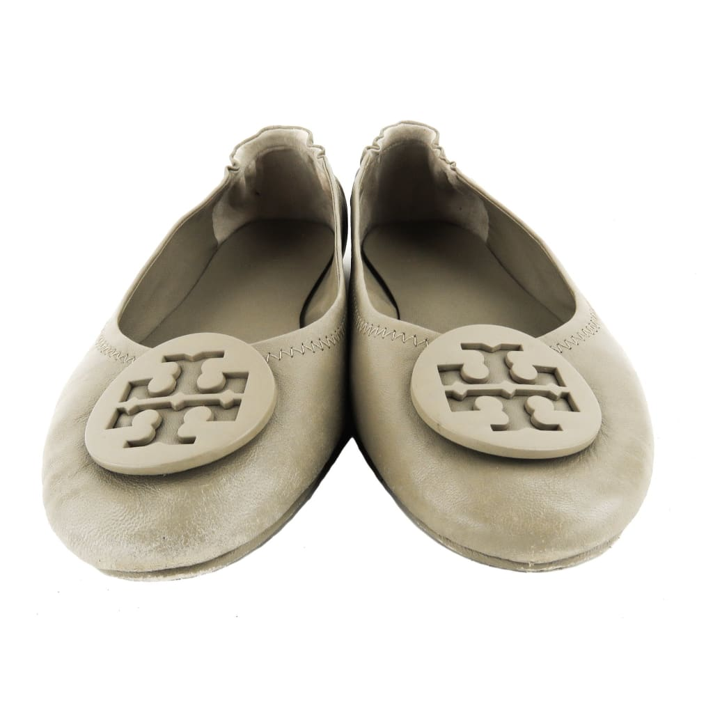 Tory Burch Taupe Leather Minnie Travel Ballet Flats - Flats