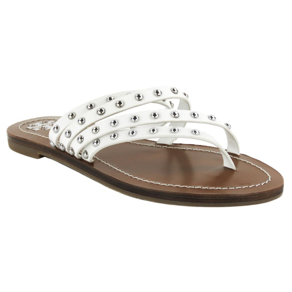Tory Burch White Leather Patos Studded Thong Sandals - Sandals