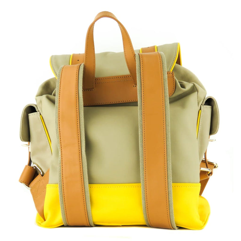 Tory Burch Yellow Coated Canvas French Khaki Daisy Pierson Backpack - Backpacks