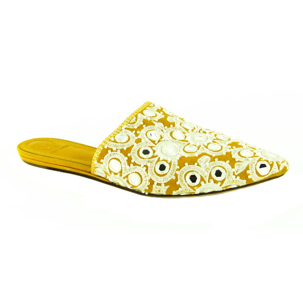 Tory Burch Yellow Suede India Gold Elora Mules Flats - Mules
