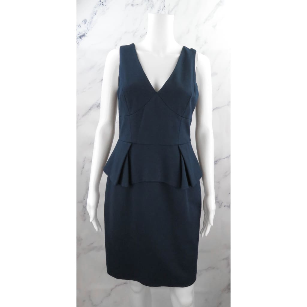 Trina Turk Navy Blue Rayon Midnight Peplum Size 6 Sleeveless Dress - Dresses