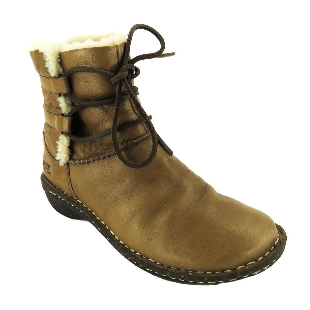 Ugg Brown Leather Shearling Lined Ankle Boots - Bootie