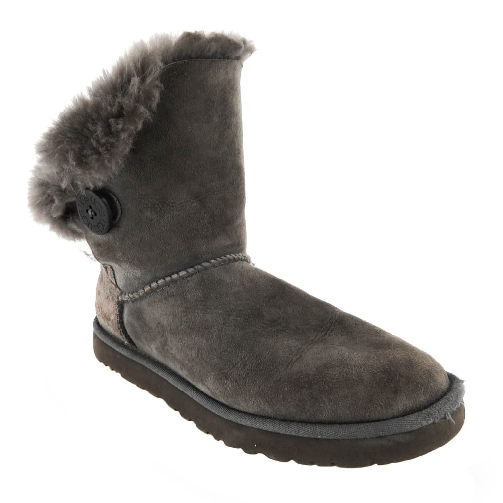 Ugg Grey Sheepskin Bailey Button II Ankle Boots - Boots/Rain Boots