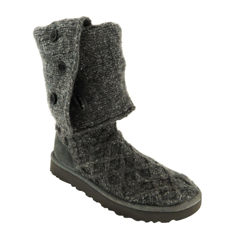 Ugg Grey Wool Lattice Cardy Knit Boots - Boots/Rain Boots