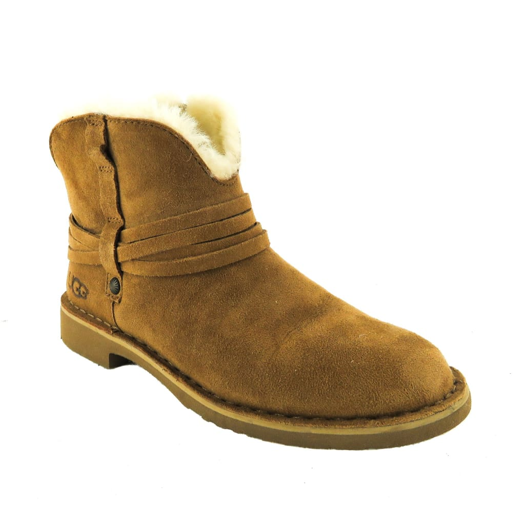 Ugg Tan Suede Shearling Ankle Boots - Bootie