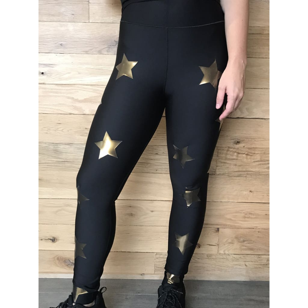 Ultracor Ultra Black Gold Star Knockout Medium Leggings - Leggings