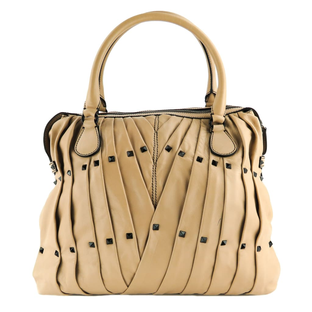 Valentino Beige Leather Maison Studded Tote Bag - Totes