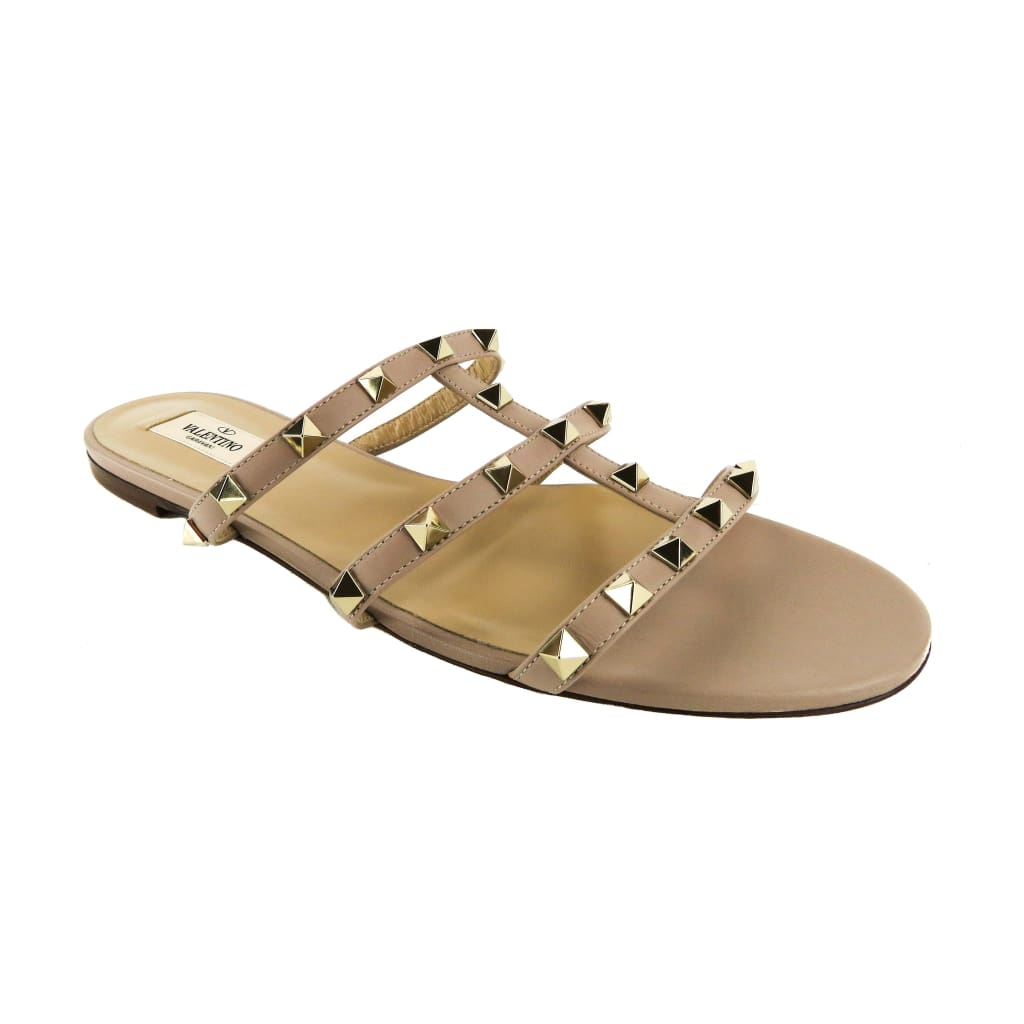 Valentino Beige Leather Rockstud Flat Slide Sandals - Sandals