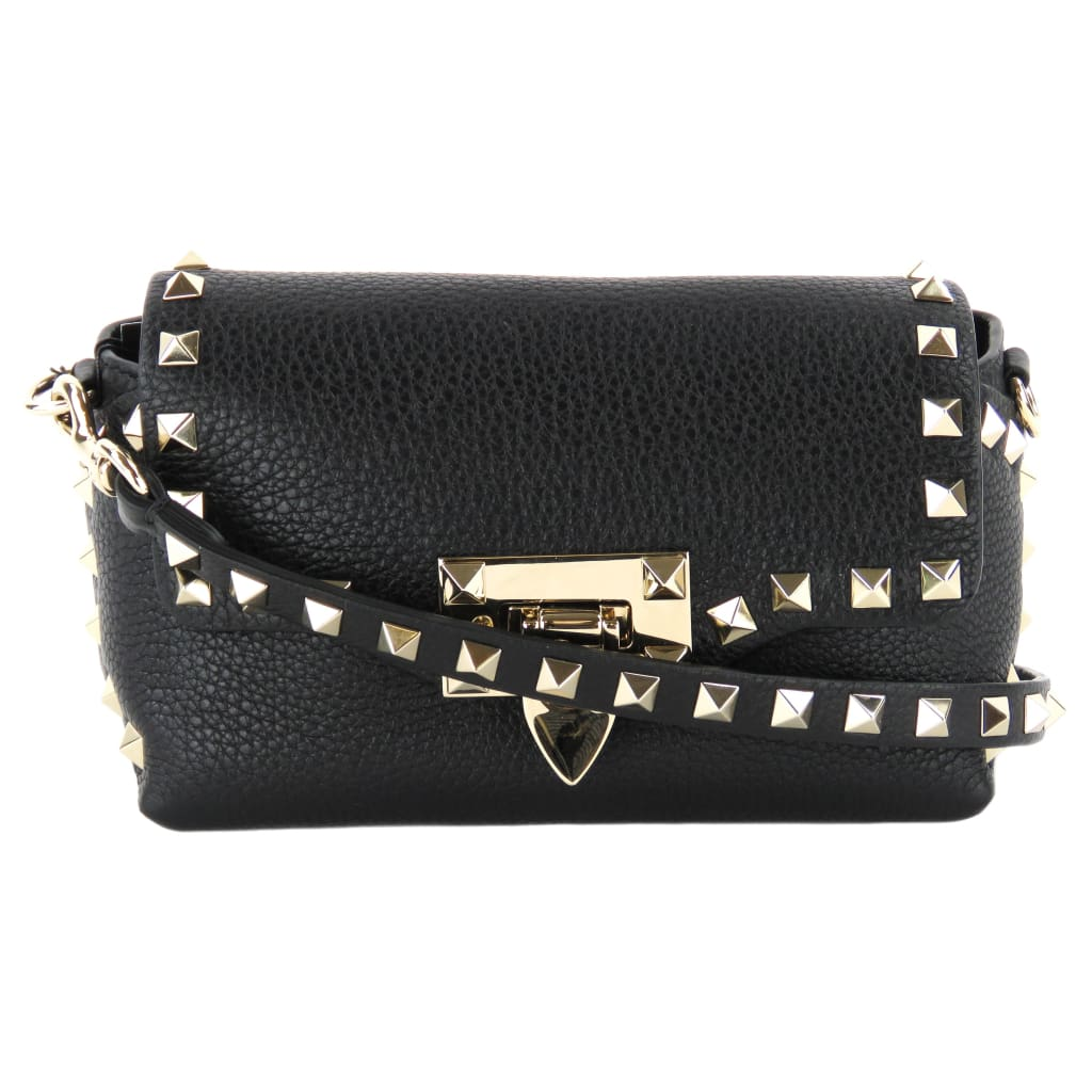 Valentino Black Calfskin Leather Rockstud Mini Crossbody Bag - Crossbodies
