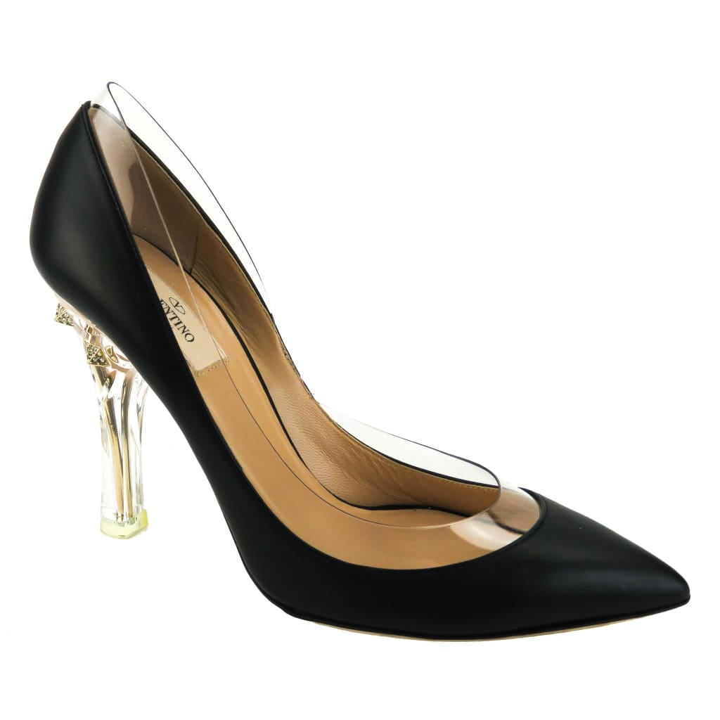 Valentino Black Leather Naked Rockstud with Transparent Trim Pumps - Heels