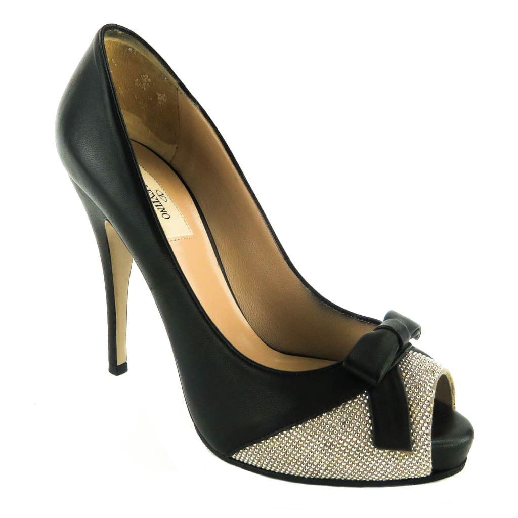 Valentino Black Leather Peep Toe Bow Embellished Pumps - Heels