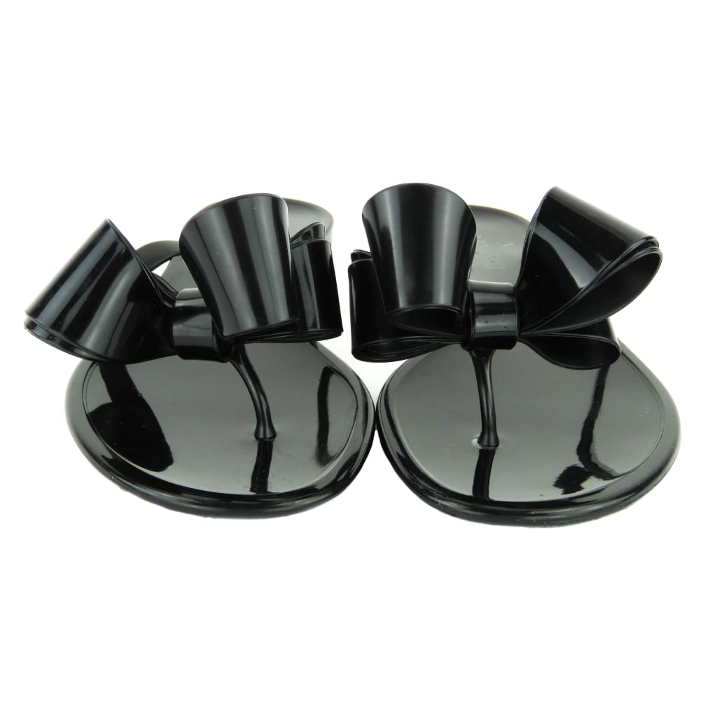 Valentino Black PVC Jelly Bow Sandals - Sandals
