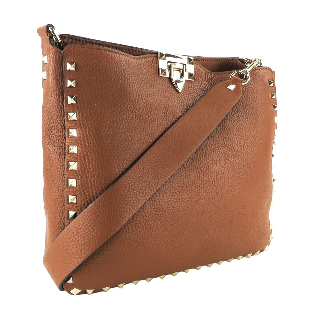 Valentino Brown Grain Leather Small Rockstud Hobo Crossbody Bag - Crossbodies