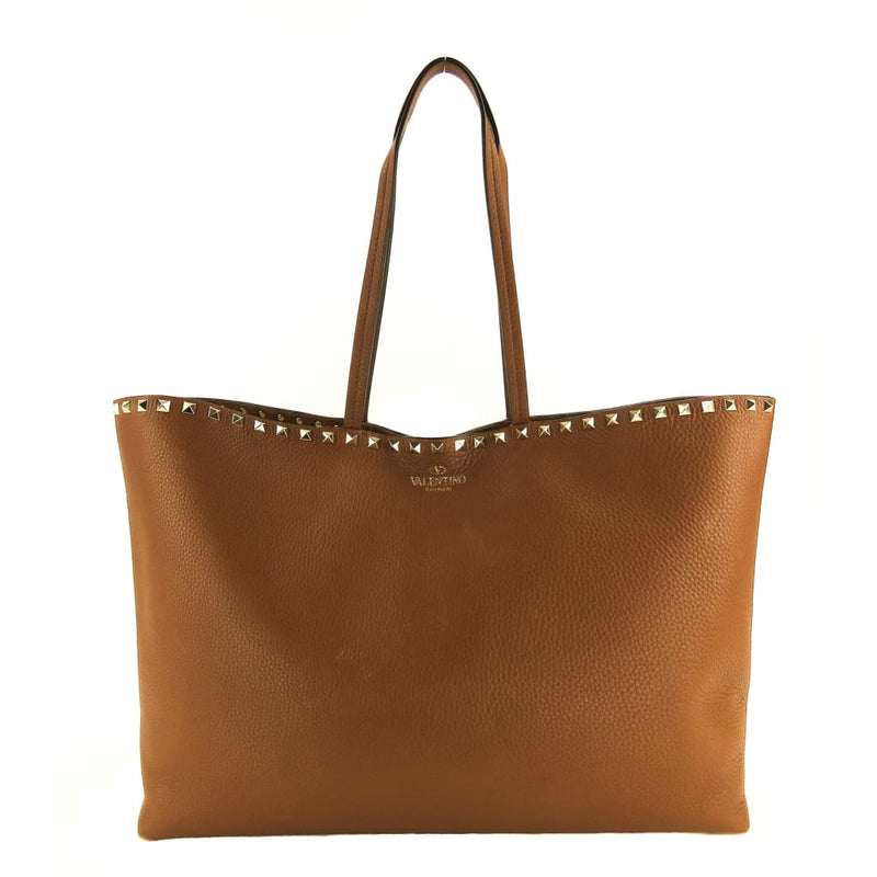 Valentino Brown Leather Rockstud Large Shopper Tote Bag - Totes