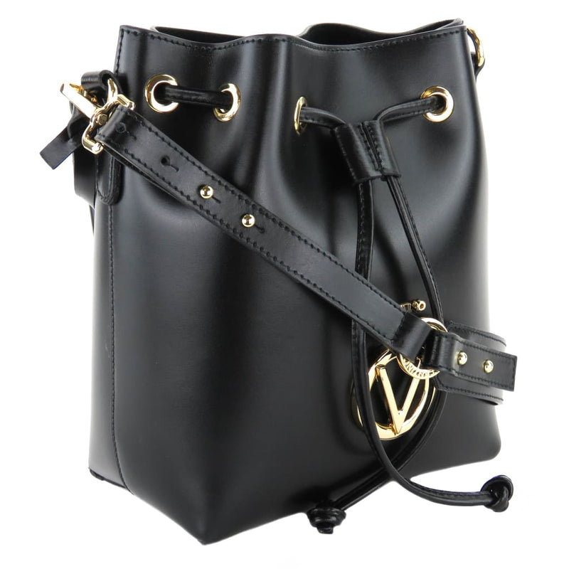 Valentino by Mario Valentino Black Leather Logo Drawstring Bucket Bag - Bucket Bags
