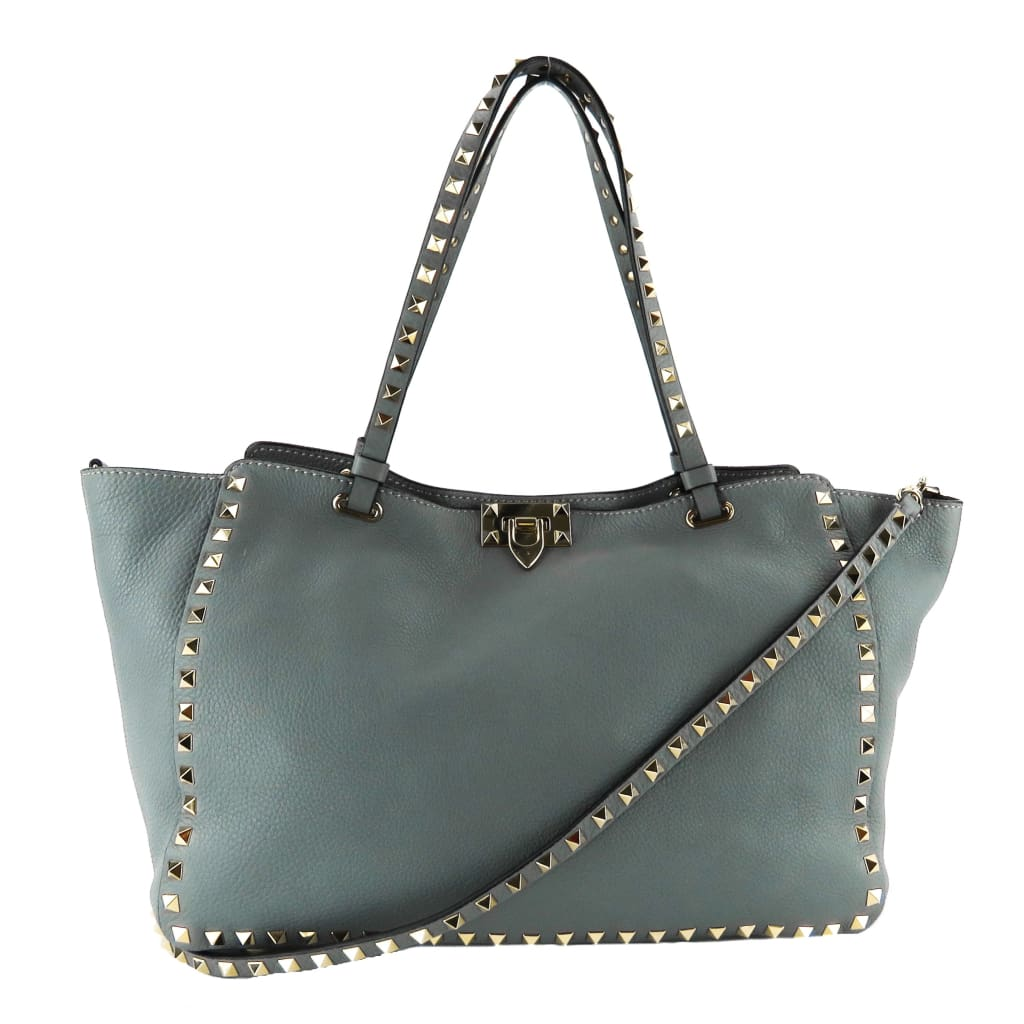 Valentino Grey Leather Medium Rockstud Trapeze Tote Bag - Totes