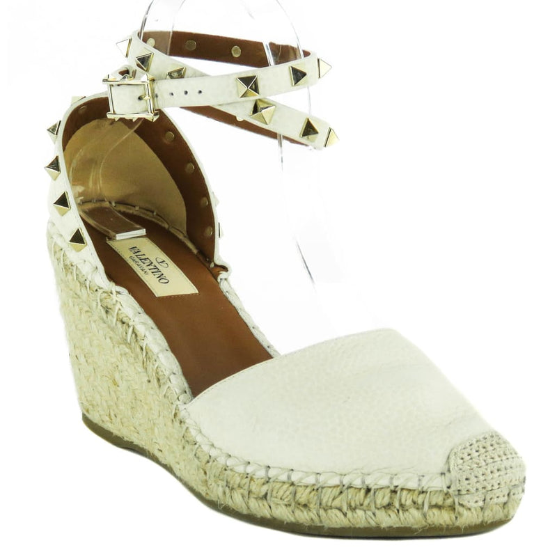 Valentino Ivory Leather Rockstud Double Ankle Wrap Espadrille Wedges - Espadrilles