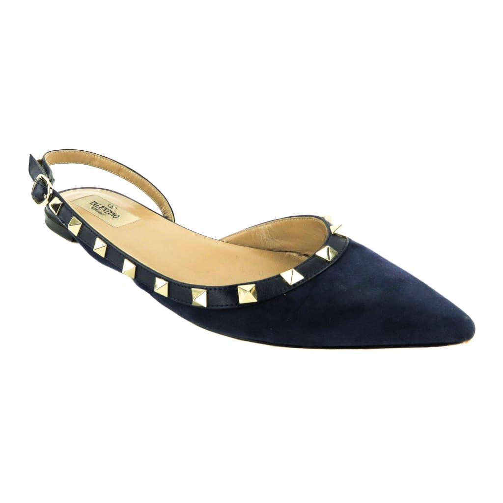 Valentino Navy Blue Suede Marine Studded Pointed Toe Slingback Flats - Flats