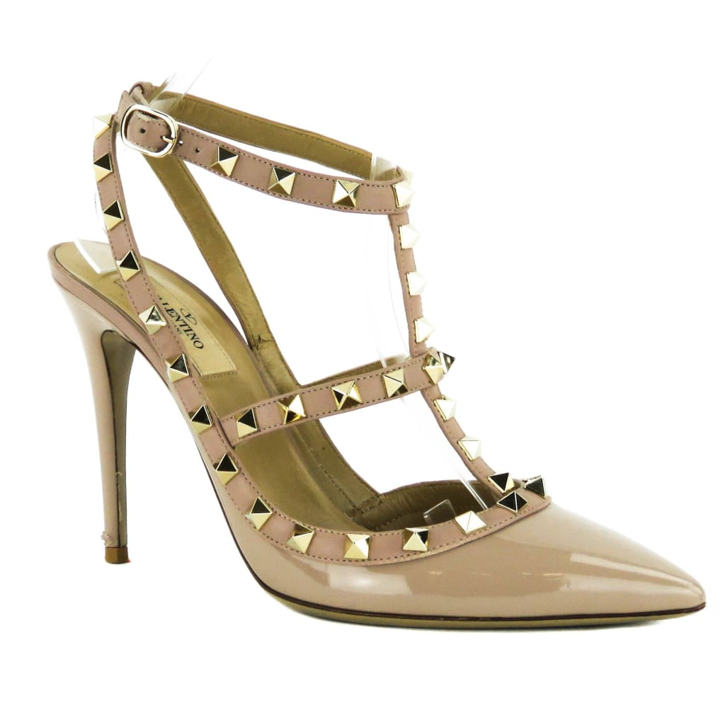 Valentino Nude Patent Leather Rockstud T-Strap Pumps - Pumps