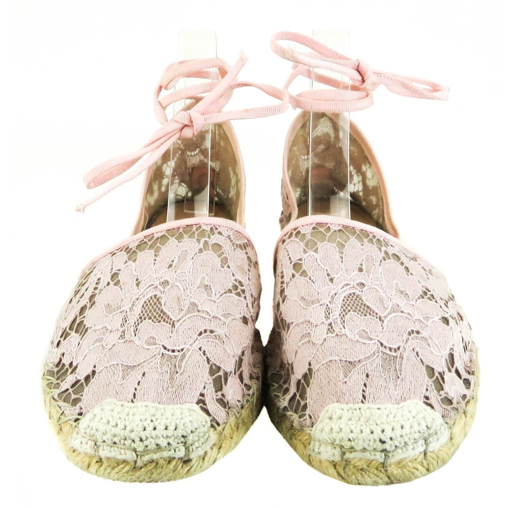 Valentino Pink Lace Espadrille Tie Up Flats - Flats