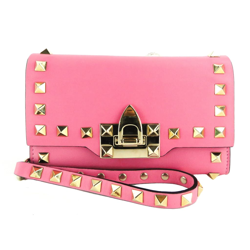 Valentino Pink Leather Rockstud Continental Wallet - Wristlet