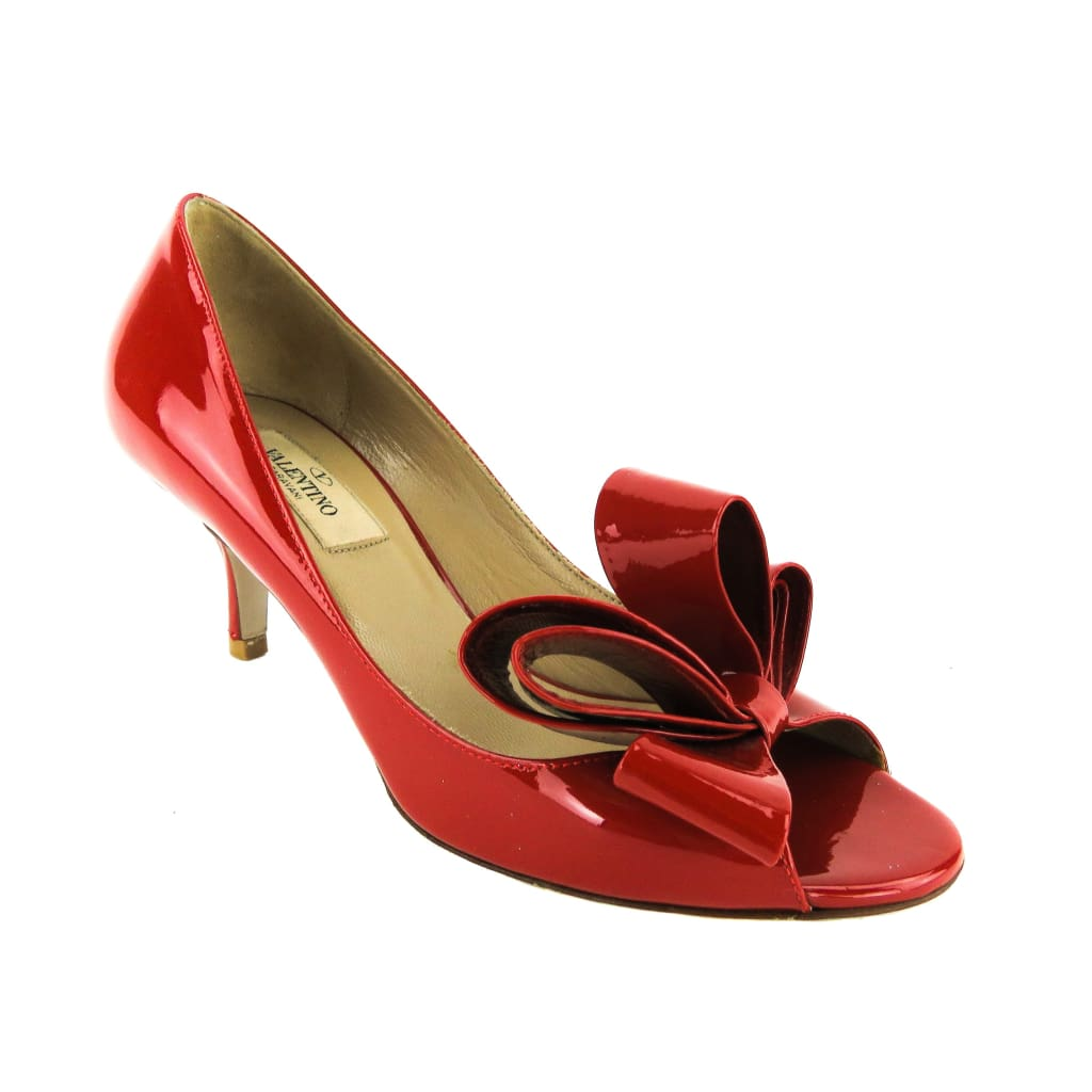 Valentino Red Patent Leather Bow Open Toe Pumps - Heels