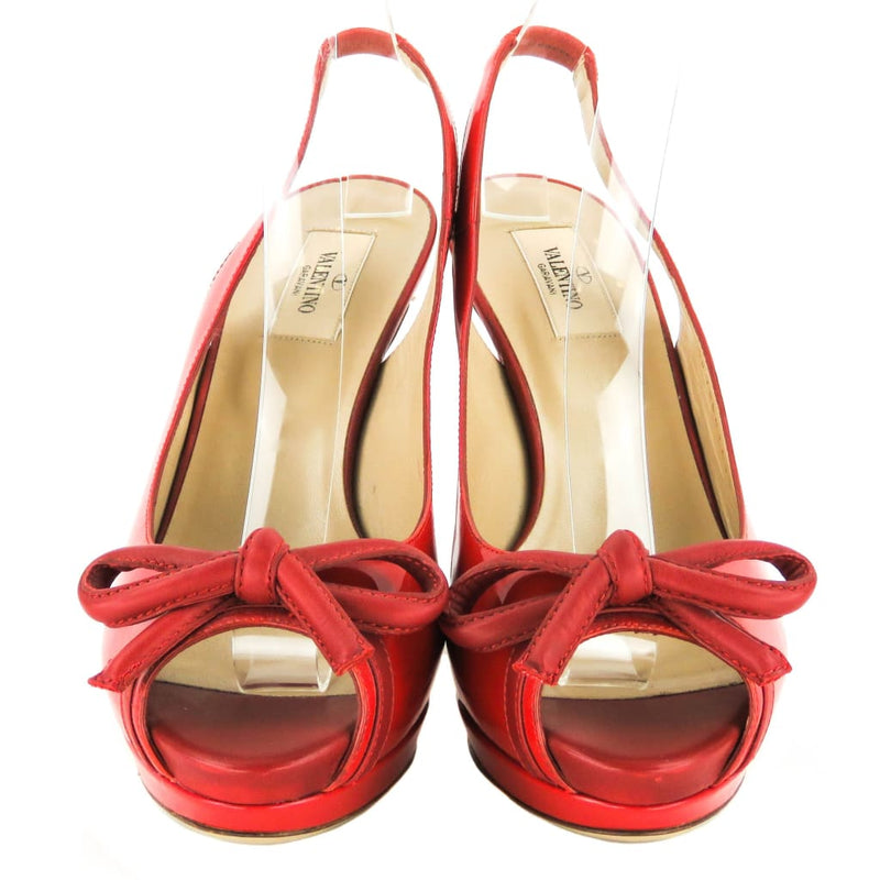 Valentino Red Patent Leather Slingback Bow Sandal Heels - Heels